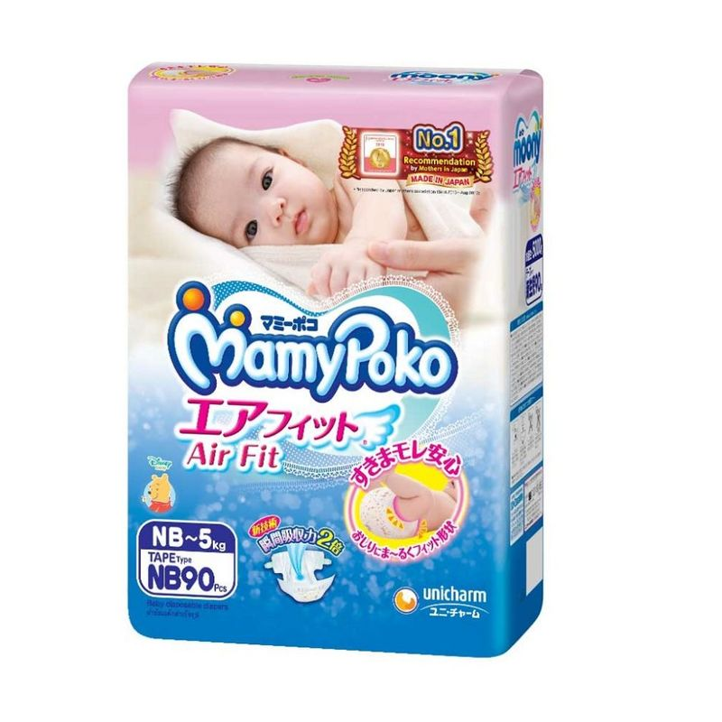 Mamy Poko Air Fit Tape Diaper New Born, 90pcs