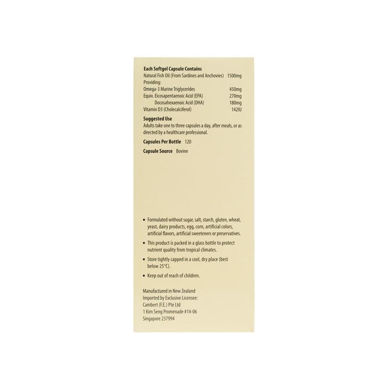 Kordel's Omega-3 Fish Oil 1500mg + Vitamin D, 120 capsules