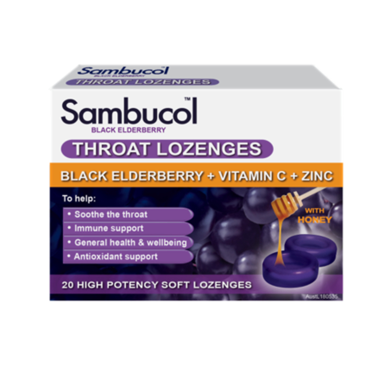 Sambucol Throat Lozenges (AUS Version), 20 lozs.