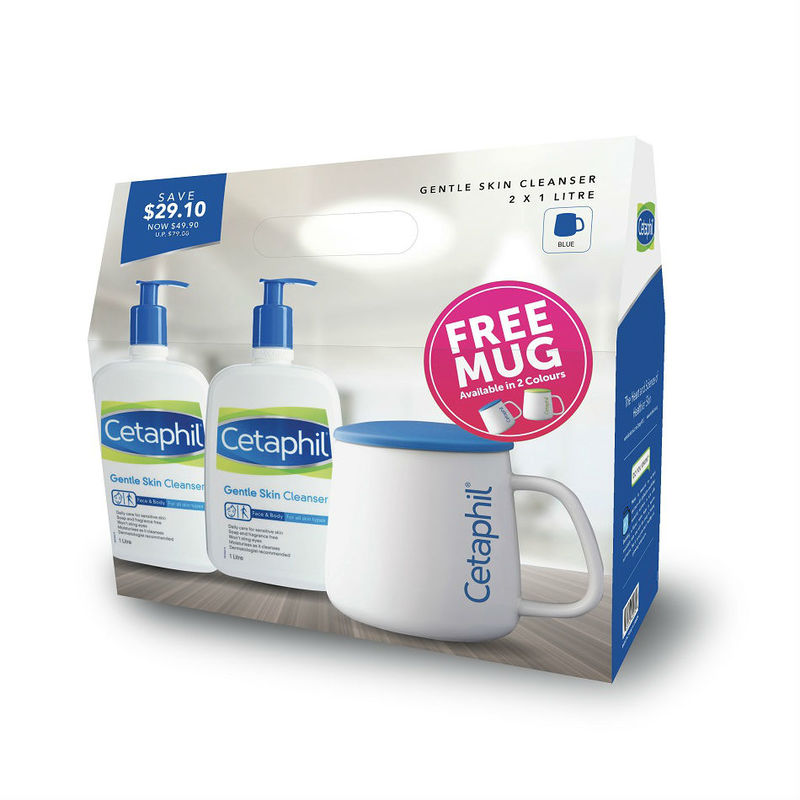 Cetaphil Gentle Skin Cleanser Twin Pack, 2x1L plus Mug