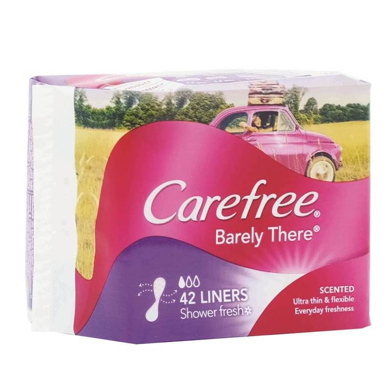 Carefree Pantyliner Barely There Scented Shower Fresh, 42pcs