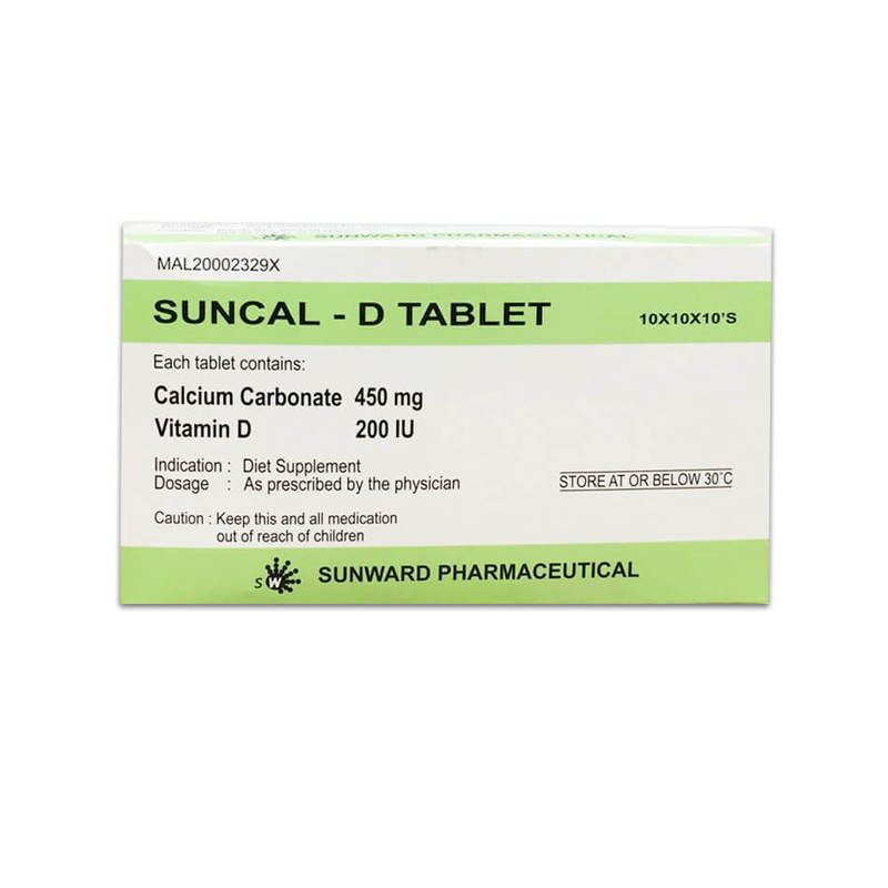Sunward  Sun Cal-D Tablets Calcium Carbonate 450mg, Vitamin D3 200iu, 1000s