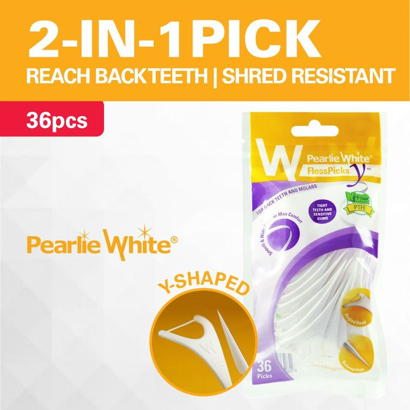 Pearlie White Floss Pick Y, 36pcs