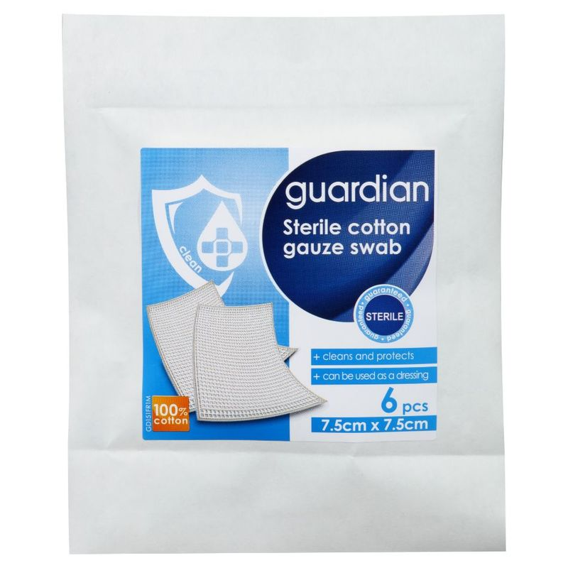 Guardian Sterile Cotton Gauze Swab 8Ply 7.5cm X 7.5cm, 6pcs