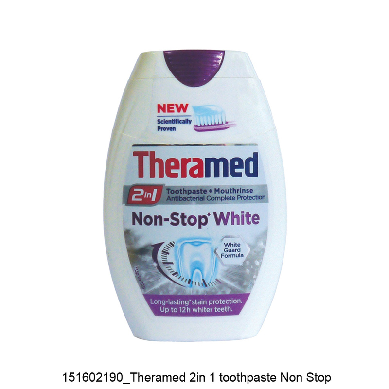 Theramed 2 in 1 Non Stop White Toothpaste + Mouthrinse, 75ml
