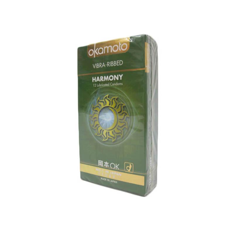 Okamoto Harmony Vibra Ribbed Condoms, 12pcs
