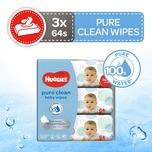 Huggies Pure Clean Baby Wipes Triple Pack, 3x64s