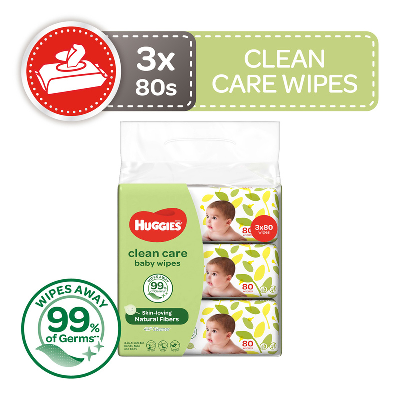 Huggies Clean Care Baby Wipes 3x80s