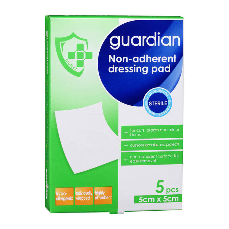 Guardian Non-Adherent Dressing Pads 5cm x 5cm, 5pcs