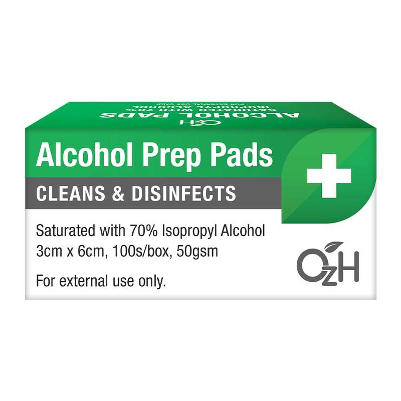 OzH Alcohol Prep Pads (70% Isopropyl Alcohol), 100s/box