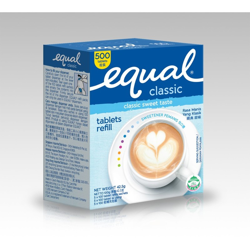 Equal Sweetener Classic Tablet Refill, 500 sachets