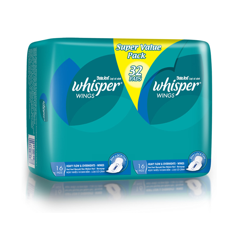 Whisper Heavy Flow Overnight Wings, 32pcs