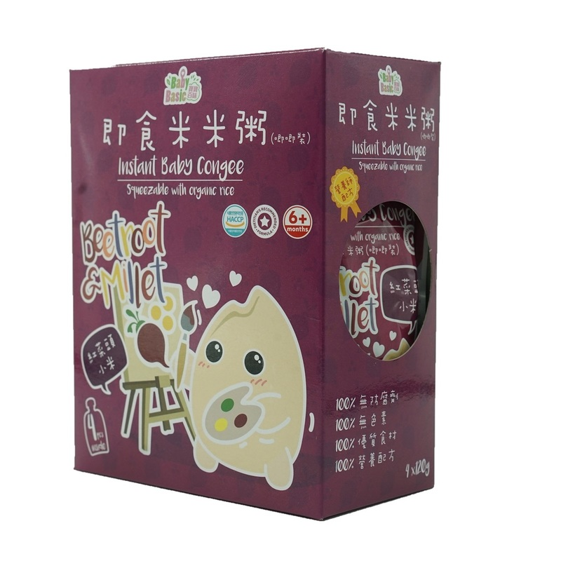 Baby Basic Congee - Squeeze Pouch(Beetroot & Millet) 120g x4