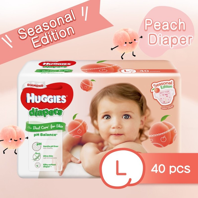 Huggies Diamond Peach Diaper L 40pc
