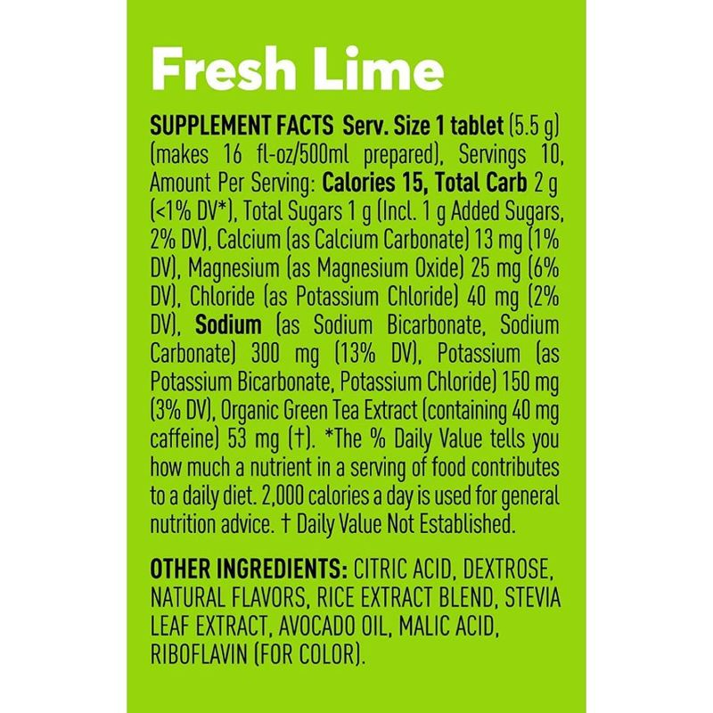 Nuun Hydration Effervescent Electrolyte & Caffeine Fresh Lime Supplement, 54g