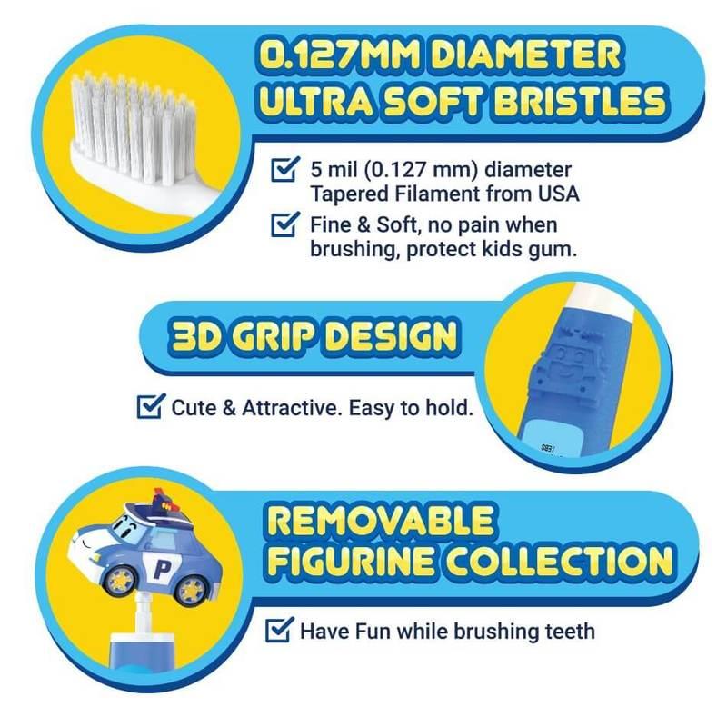 FAFC Robocar Poli Kids Toothbrush - Poli Figurine