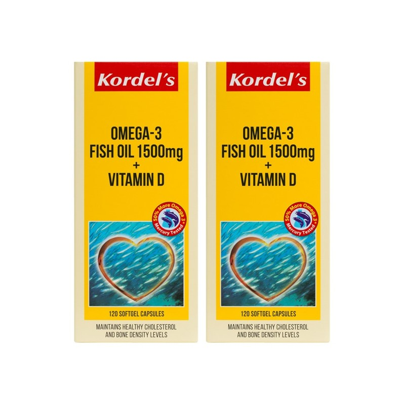 Kordel's Omega 3 Fish Oil 1500mg + Vitamin D 120s Twin Pack