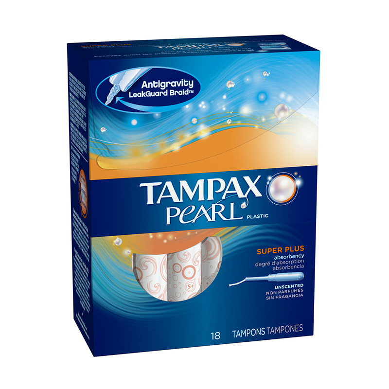 Tampax Pearl Plastic Unscented Super Plus Tampons, 18pcs