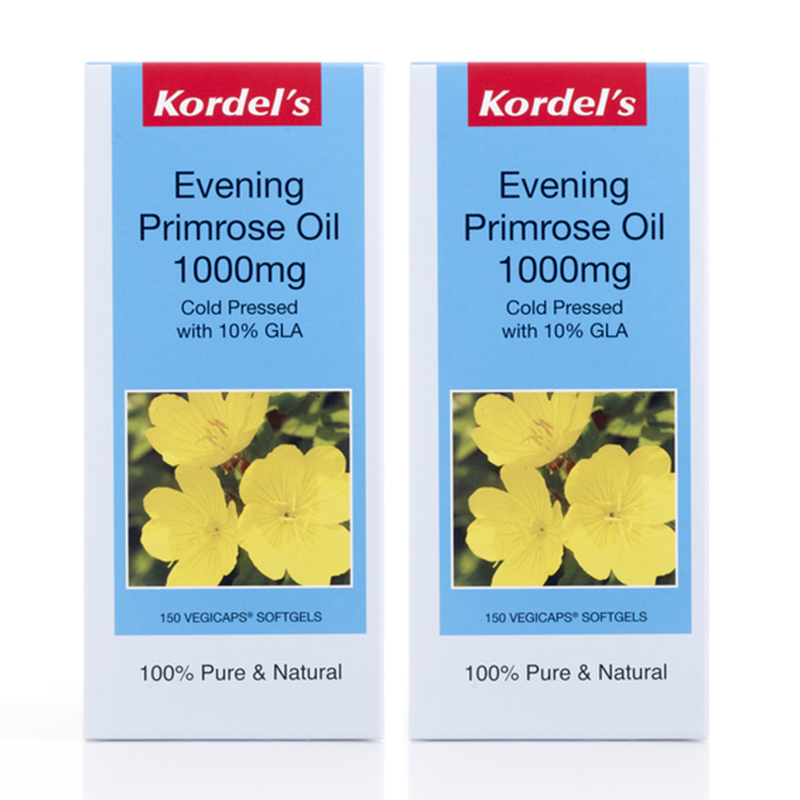 Kordel's Evening Primrose Oil 1000mg, Twin Pack, 2x150 capsules