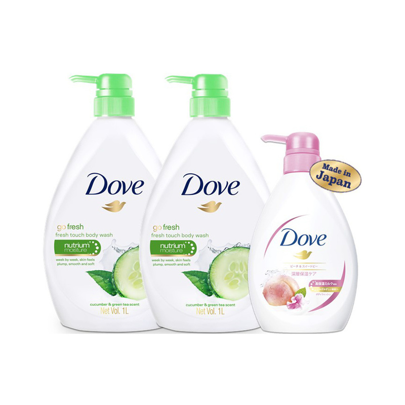Dove Fresh Touch Body Wasy Twin Pack, 2x1L with Free Peach Body Wash, 500ml
