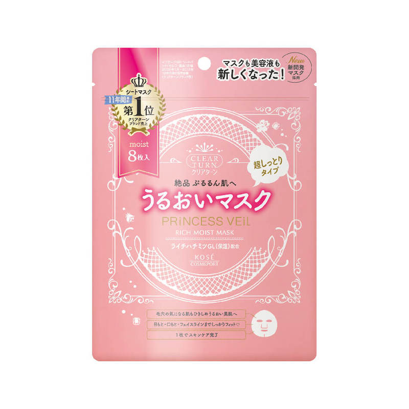 Kose Cosmeport Clear Turn Princess Veil Rich Moist Mask, 8pcs