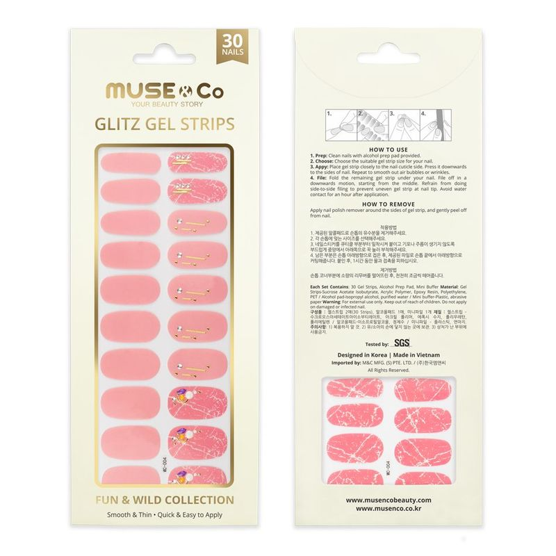 MUSE & Co - Glitz Gel Strips - Pink Marble-lous