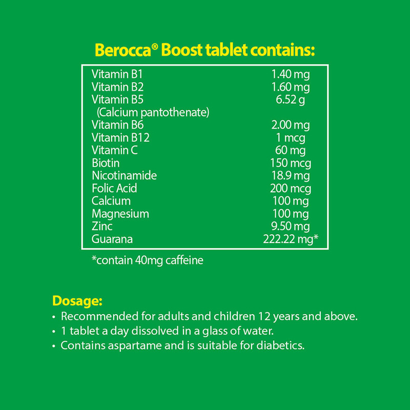 Berocca Boost Vitamin B+ Guarana Energy Effervescent Tablet, 15 tablets