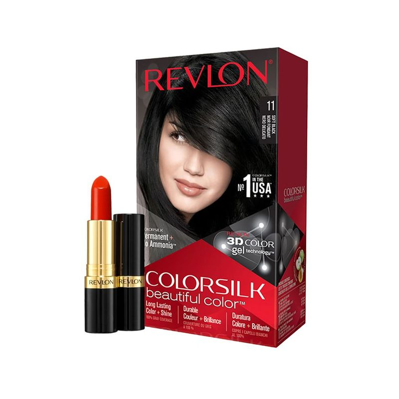 Revlon Colorsilk 11 Soft Black with Free Super Lustrous Lipstick