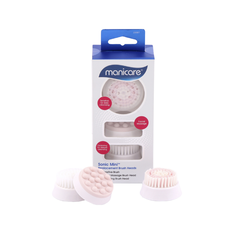 Manicare Sonic Mini Facial Cleanser Replacement Brush Heads, 3pcs
