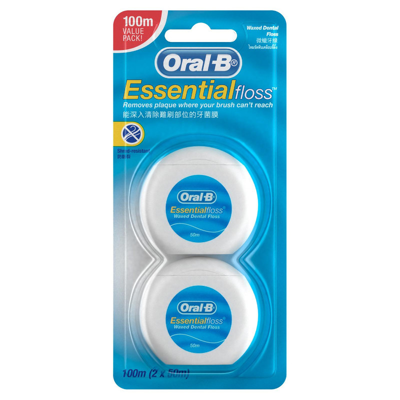 Oral-B Waxed Dental Floss Twin Pack, 2x50m