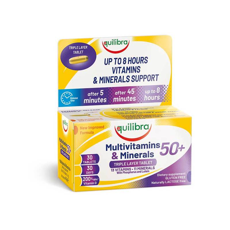 Equilibra, Multivitamins & Minerals 50+, 30 Triple Layer Tablets