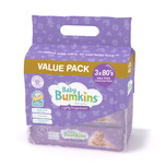 Baby Bumkins Lightly Fragranced Baby Wipes Triple Pack, 3x80pcs