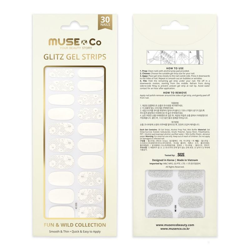 MUSE & Co - Glitz Gel Strips - Lacey Blossom