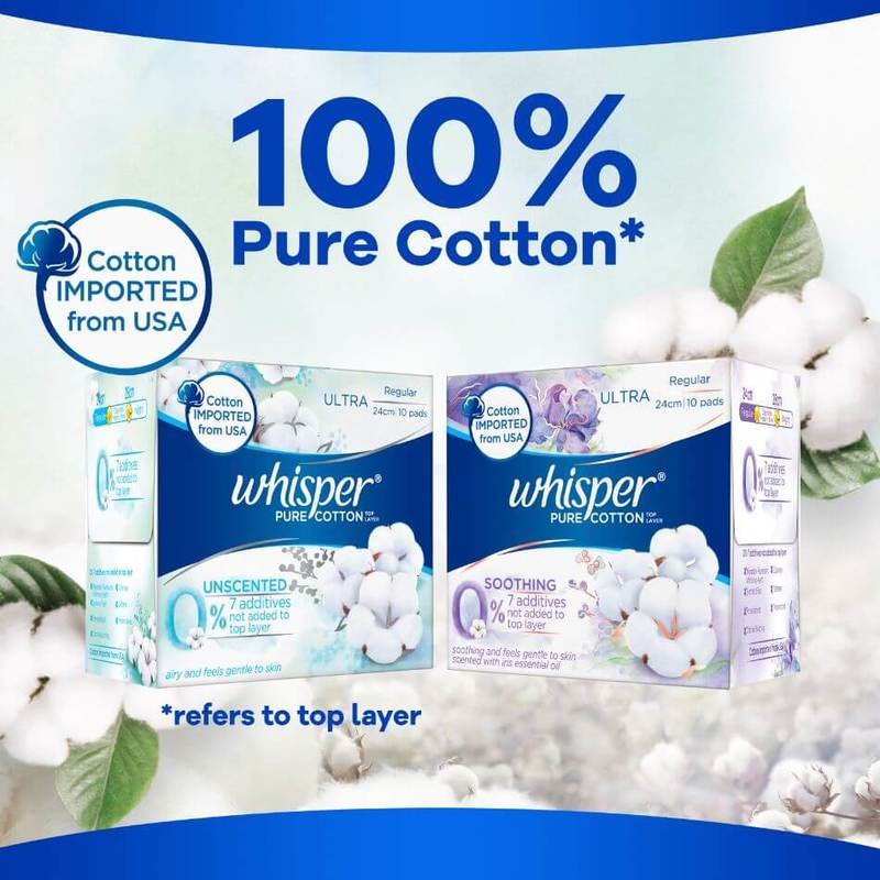 Whisper Pure Cotton Unscented Sanitary Pads Regular 24cm 10s