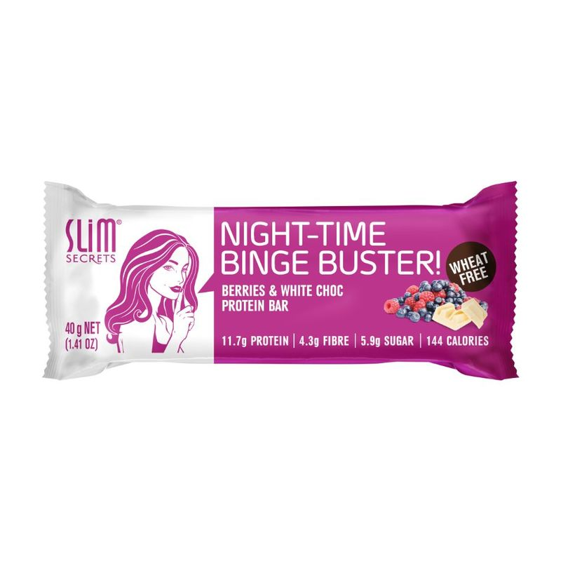 Slim Secrets Night Time Binge-Buster Berries & White Choc Protein Bar, 40g