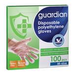 Guardian Disposable Polyethylene Gloves M, 100pcs
