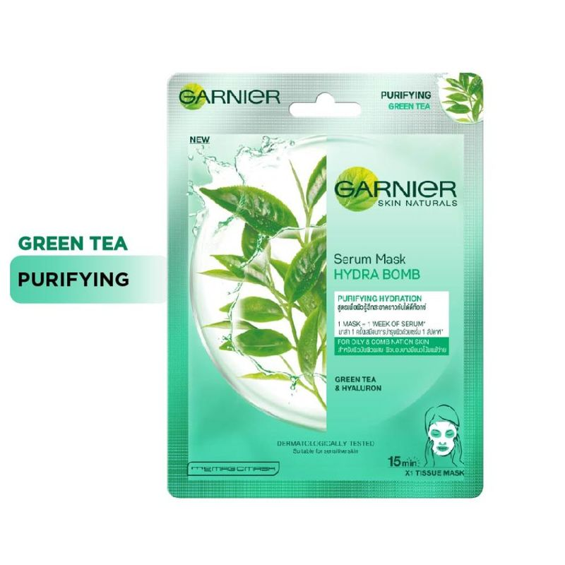 Garnier Serum Mask - Hydra Bomb Green Tea Super Hydrating Purifying Tissue Mask