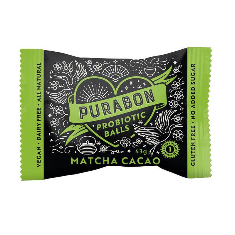Purabon Matcha Cacao Probiotic Ball, 43g