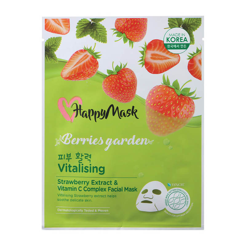 HappyMask Berries Garden  Strawberry Extract & Vitamin C Complex Facial Mask Vitalising