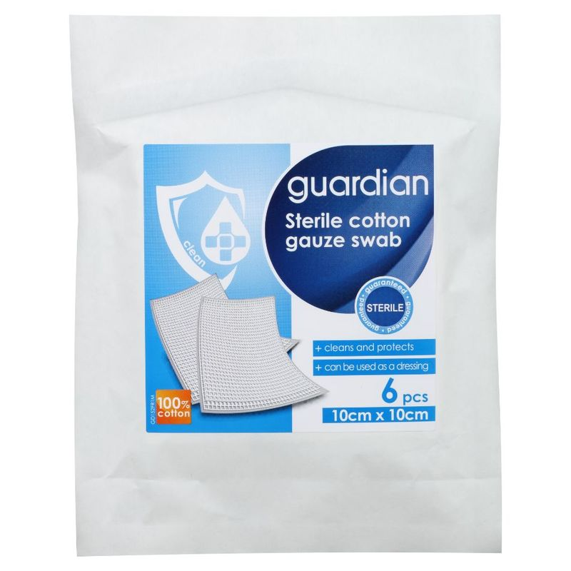 Guardian Sterile Cotton Gauze Swab 8ply 10cm X 10cm, 6pcs
