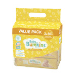 Baby Bumkins Fragrance Free Baby Wipes Triple Pack, 3x80pcs