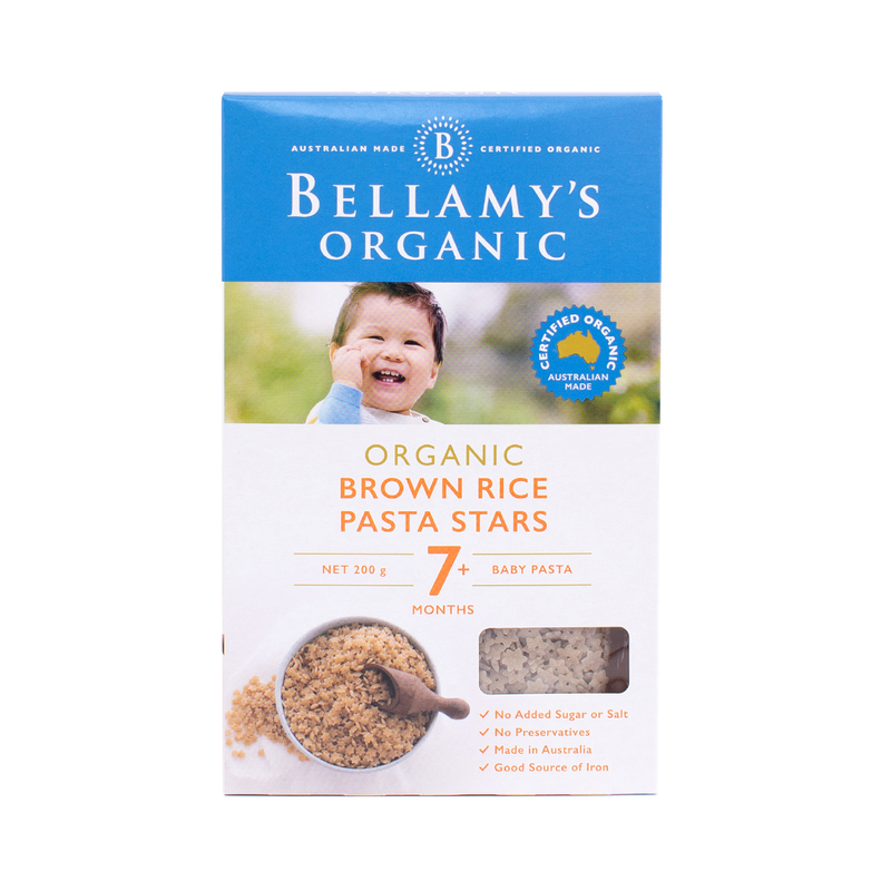 Bellamys Brown Rice Pasta Stars (7M+)200g