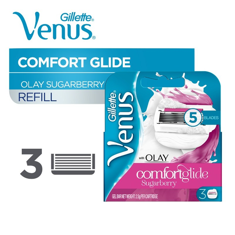 Gillette Venus with Olay Comfortglide Sugarberry Cartridges, 3pcs