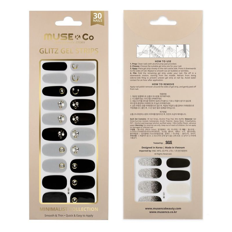 MUSE & Co - Glitz Gel Strips - Neutral Base