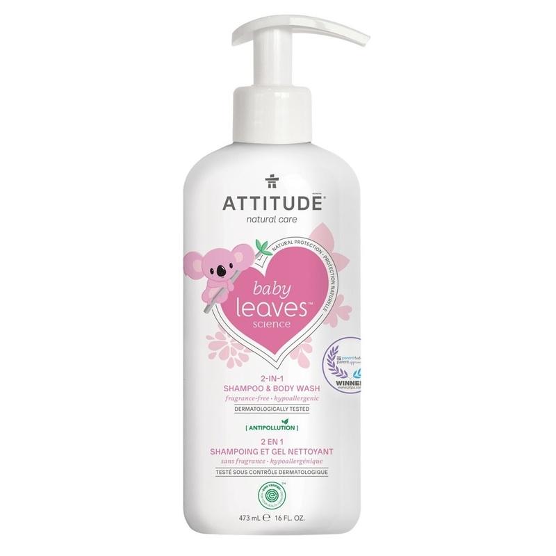 Attitude Baby Leaves 2-in-1 Shampoo & Body Wash Fragrance Free 473mL