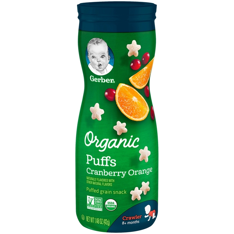 Gerber Organic Puffs Cranberry Orange, 42g