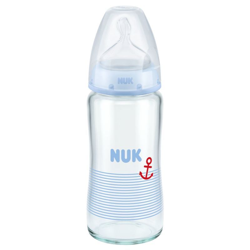 Nuk Pch Glass Bottle with Silicon Teat (0-6M) 240mL