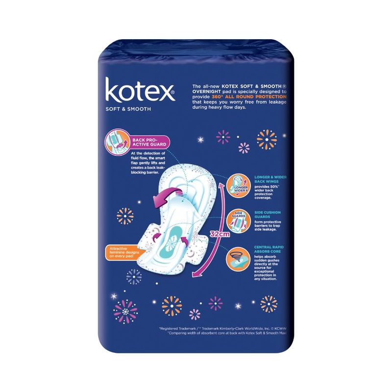 Kotex Soft & Smooth Overnight 32cm, 18pcs