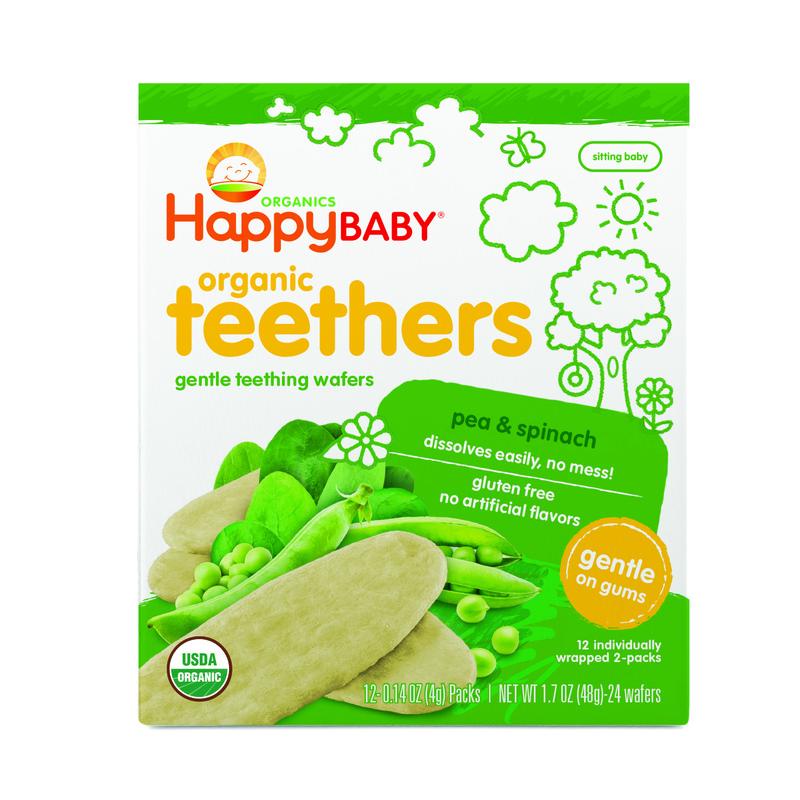 Happy Baby Organics Teething Wafers:Peaspinach 4g x12pcs
