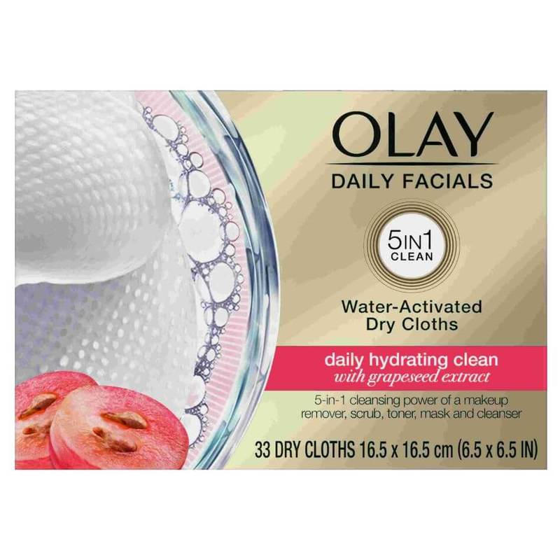 Olay Daily Facials Water Activated Dry Cloths Daily Hydrating Clean 33 pcs